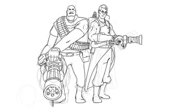 team fortress 2 coloring pages team fortress 2 heavy medic by patxinaki on deviantart