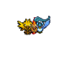 Articuno, Zapdos, and Moltres over world sprite by KeepingPokemonEpic