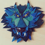 Cardboard abstract wolf head