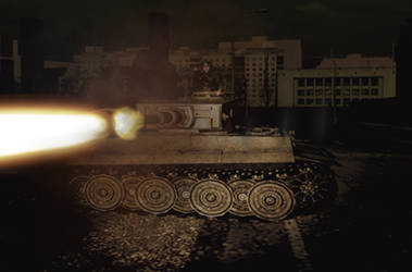 Tiger II firing on Soviet Forces (different Angle) by DrAdalwinMuller