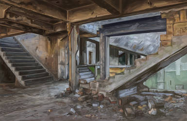 Deserted Stairs-a Photo Study Painting