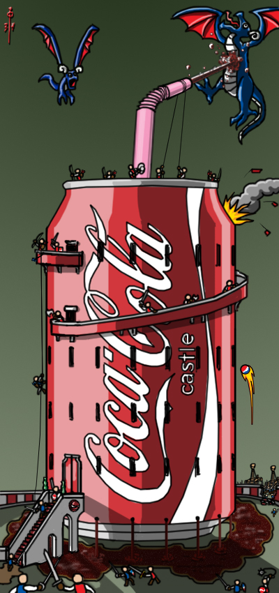 The Seige of Coca-Cola Castle by cheddarpaladin