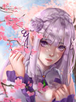 Emilia and blossom by DoMyzu