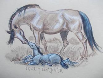 Loki and Sleipnir by echdhu