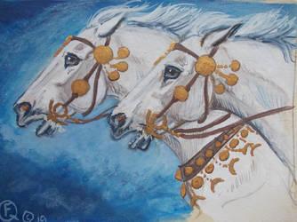 The Sun God's horses ACEO by echdhu