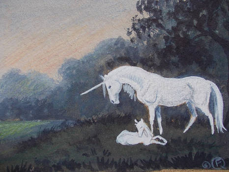 Unicorn mare and foal aceo by echdhu