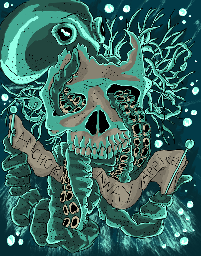 octopus skull design by atcovrett. Black Bedroom Furniture Sets. Home Design Ideas