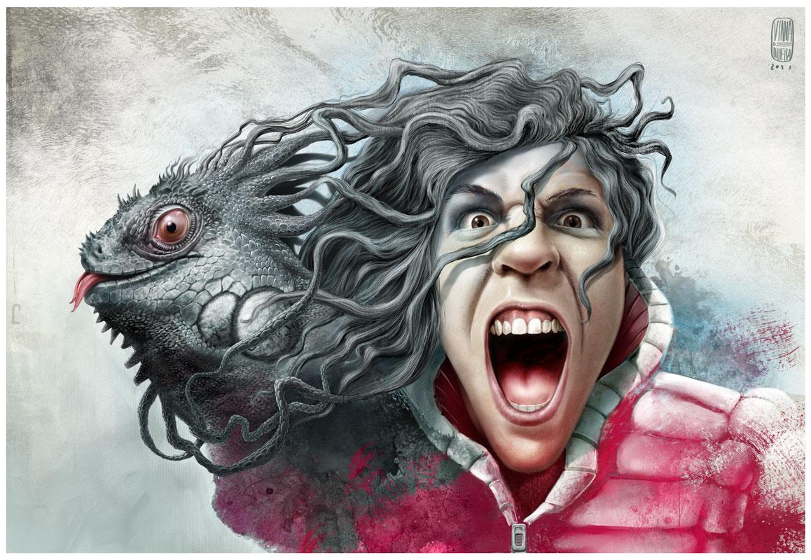 Boy with Iguana by nuvem