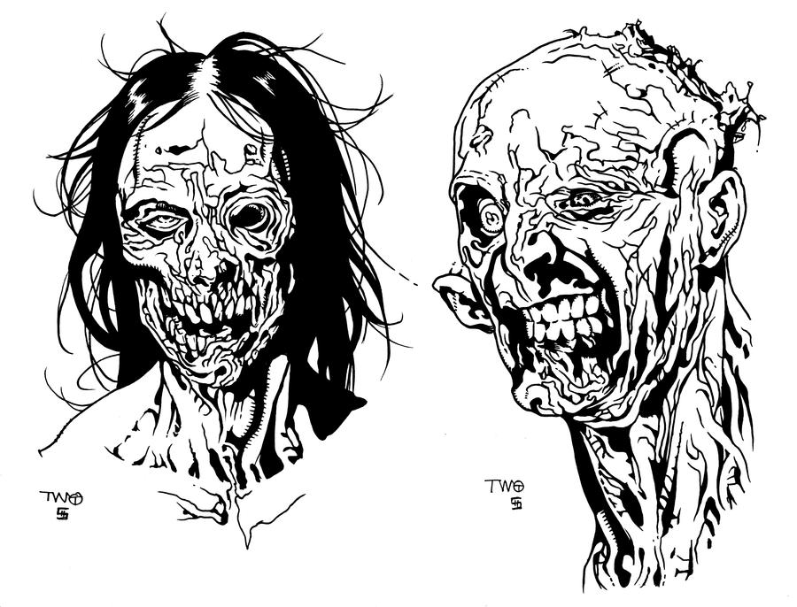 Some Zombie heads...inks by shoveke on DeviantArt