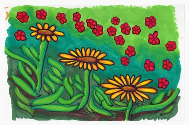 Little Red Flowers Cascade - Mazuir Ross by MazuirRoss