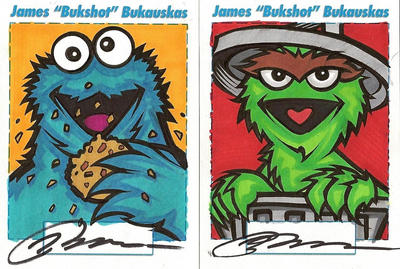 Cookie Monster and Oscar by bukshot