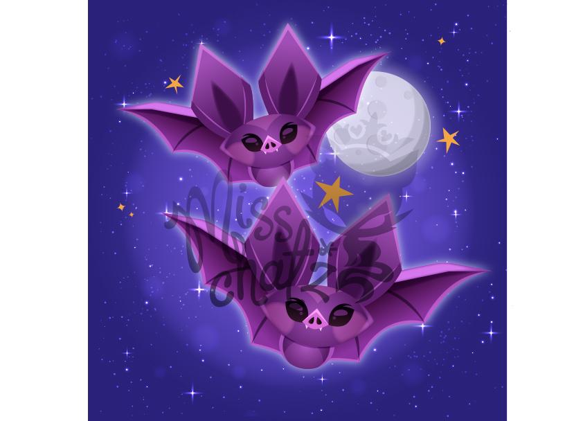 Cute Bats Moonlight Scene