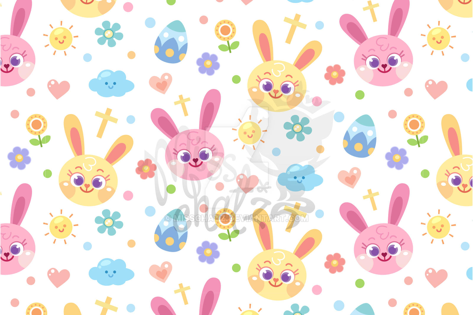 Pastel Easter Bunny Seamless Pattern by MissChatZ