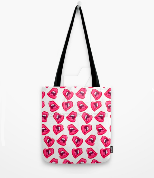Hot Lips Tote Bag by MissChatZ