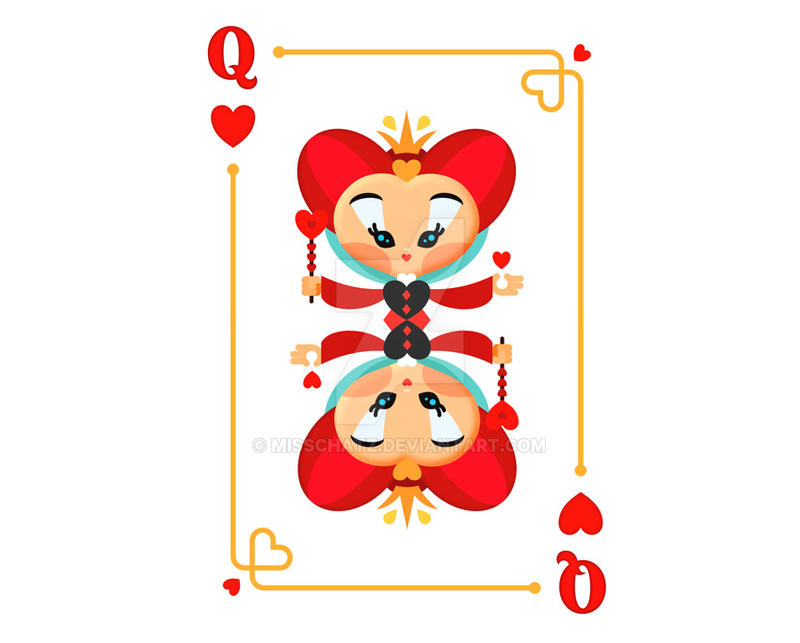 Queen of Hearts Playing Card by MissChatZ