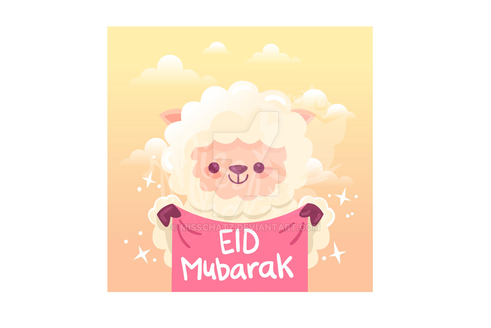 Eid Adha Sheep Banner Cartoon