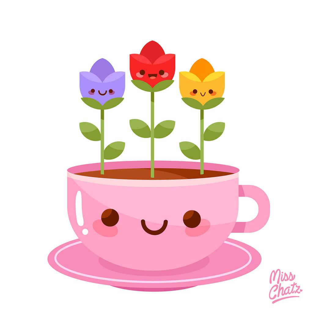 Kawaii Cup of Spring Flowers