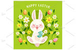Cute Easter Bunny grass with Egg