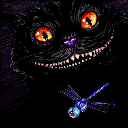 Cheshire cat terrifies blue dragonfly.