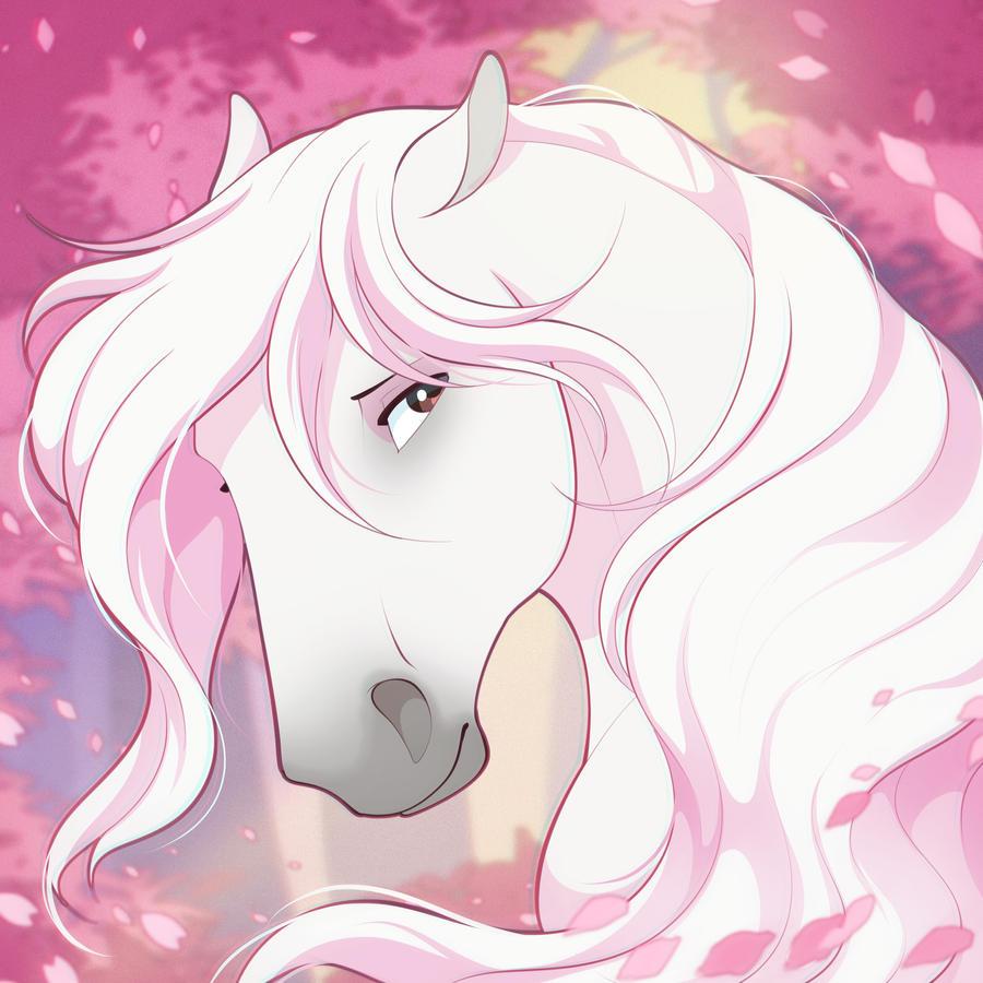 cherry blossom horse
