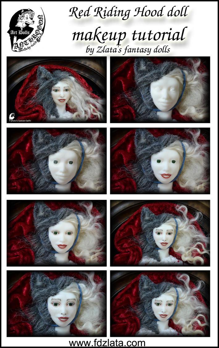 Red Riding Hood doll makeup tutorial by zlatafantasydolls