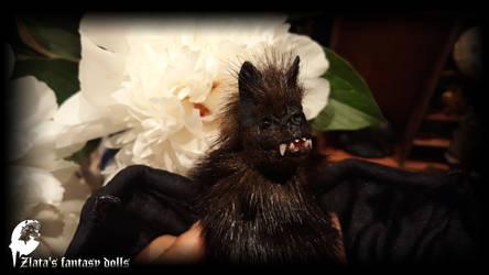 Dark brown Vampire bat with teeth. by zlatafantasydolls