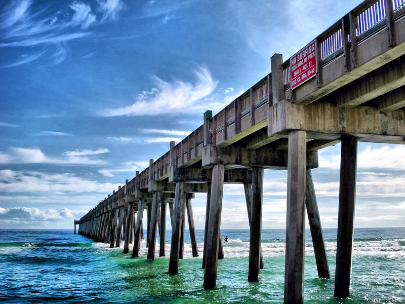 pensacola beach fishing pier by dieselfuel on deviantart