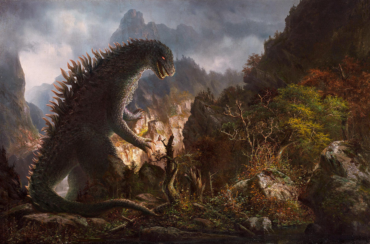 Godzilla in the mountains by fantasio