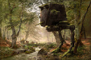 Abandoned AT-ST in the Forest by fantasio