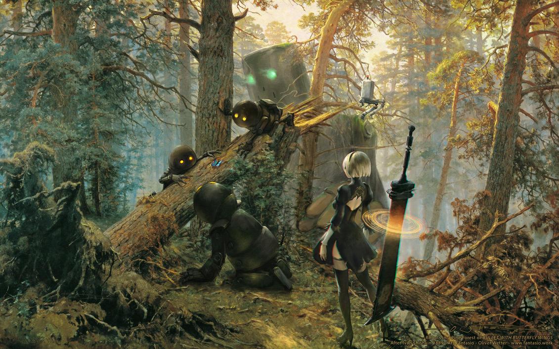 Robots in a Pine forest - NieR+Shishkin Wallpaper by fantasio