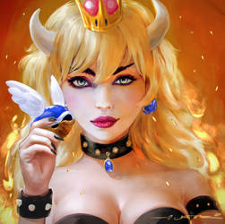 Bowsette - portrait study by fantasio