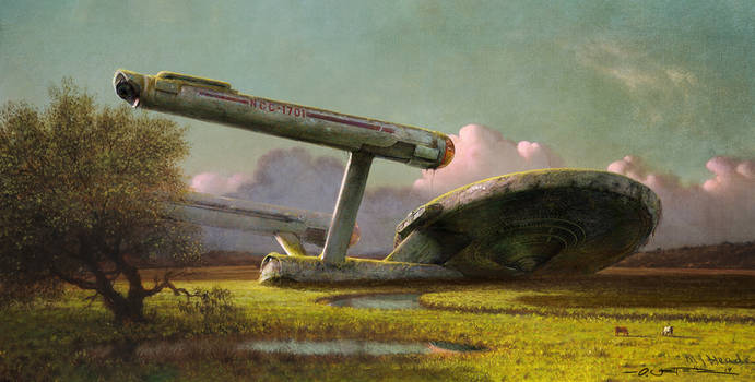 Forgotten Spaceship at the Meadow by fantasio