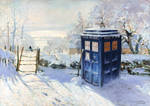 Magpie and Tardis - after Monet Wallpaper