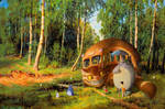 Catbus and Friends in the Birchforest by fantasio