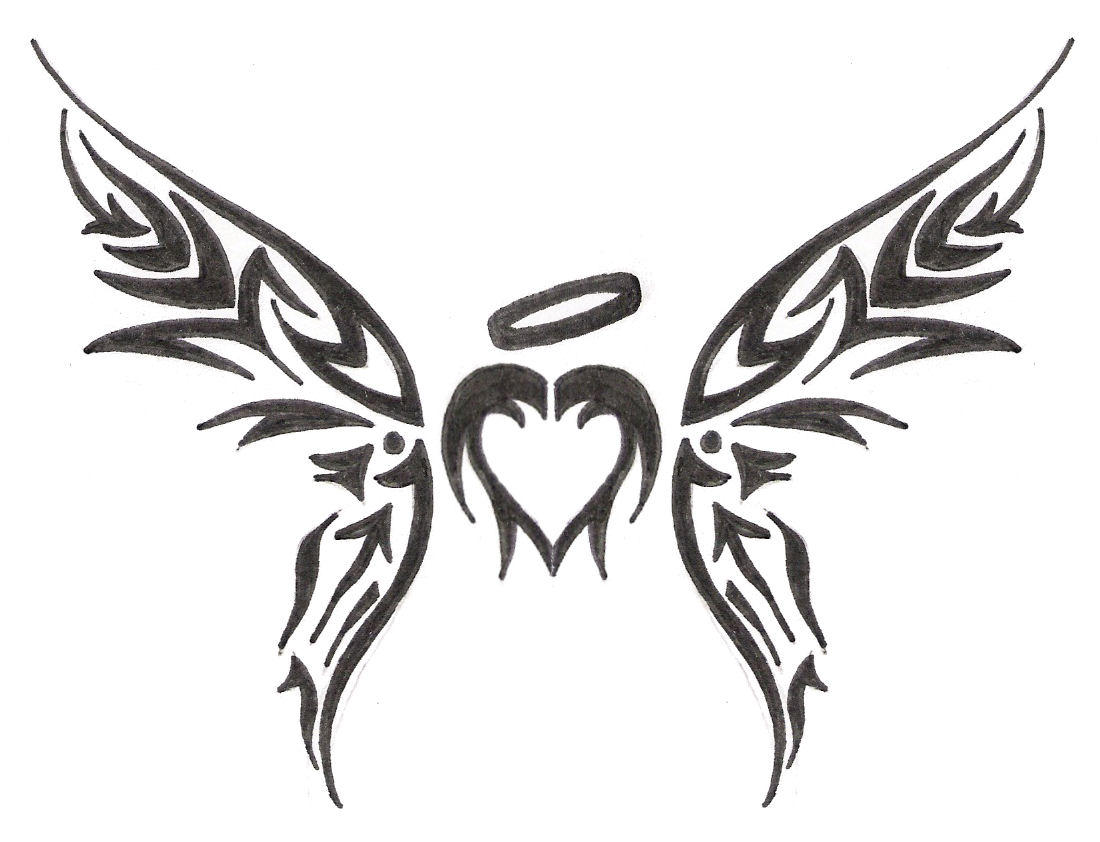 Tribal heart drawings with wings