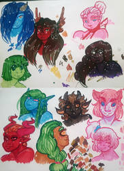 some colorful monstergals