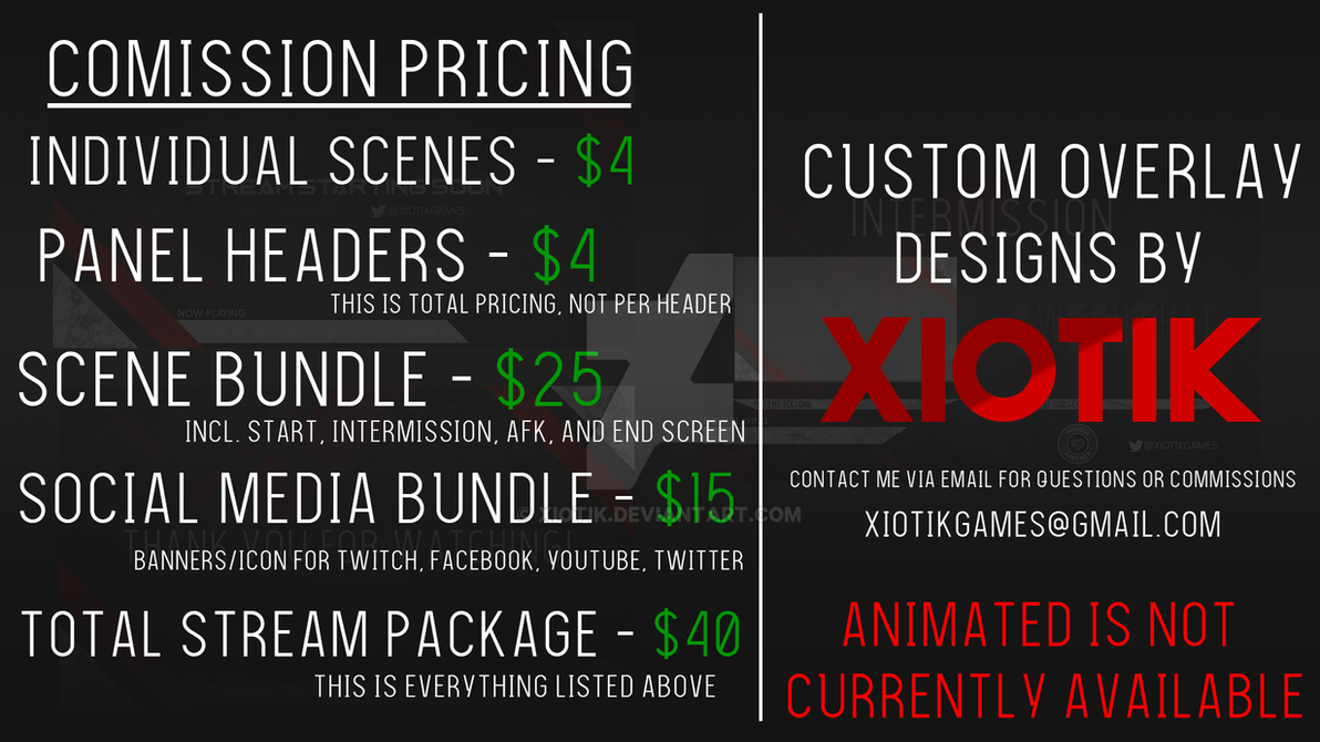 Custom Twitch Overlay Comission Prices by Xiotik