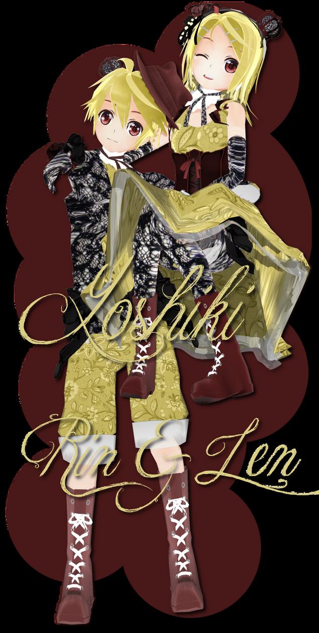 Yoshiki Len and Rin DL by xkyarii