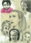 Estudos De Faces em papel colorido