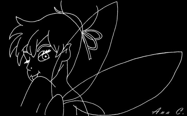 Tinkerbell black and white by ana d on deviantart for Black and white tinkerbell