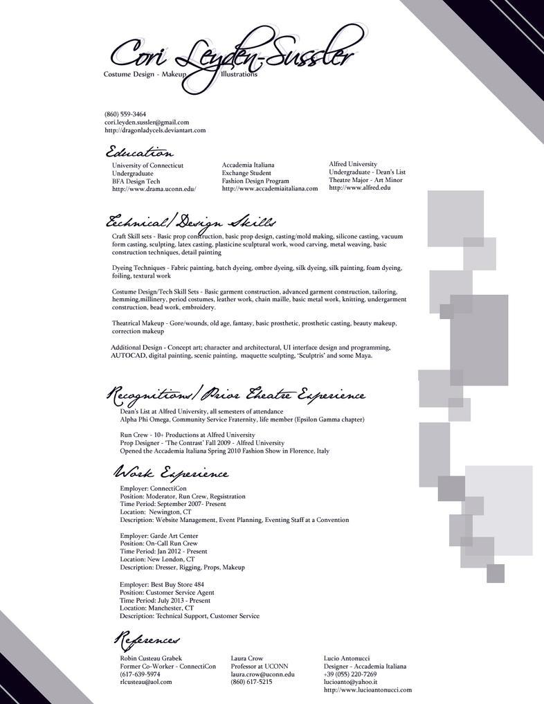 Resume 2013 By Dragonladycels On Deviantart