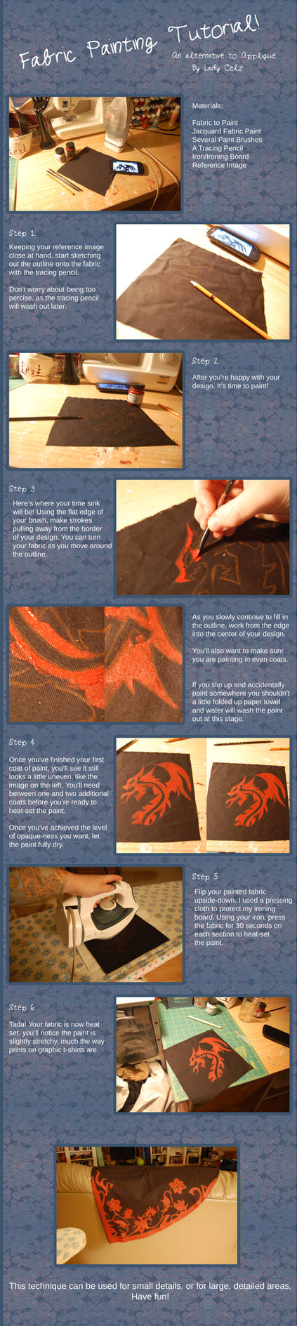 Fabric Painting Tutorial by DragonLadyCels on DeviantArt
