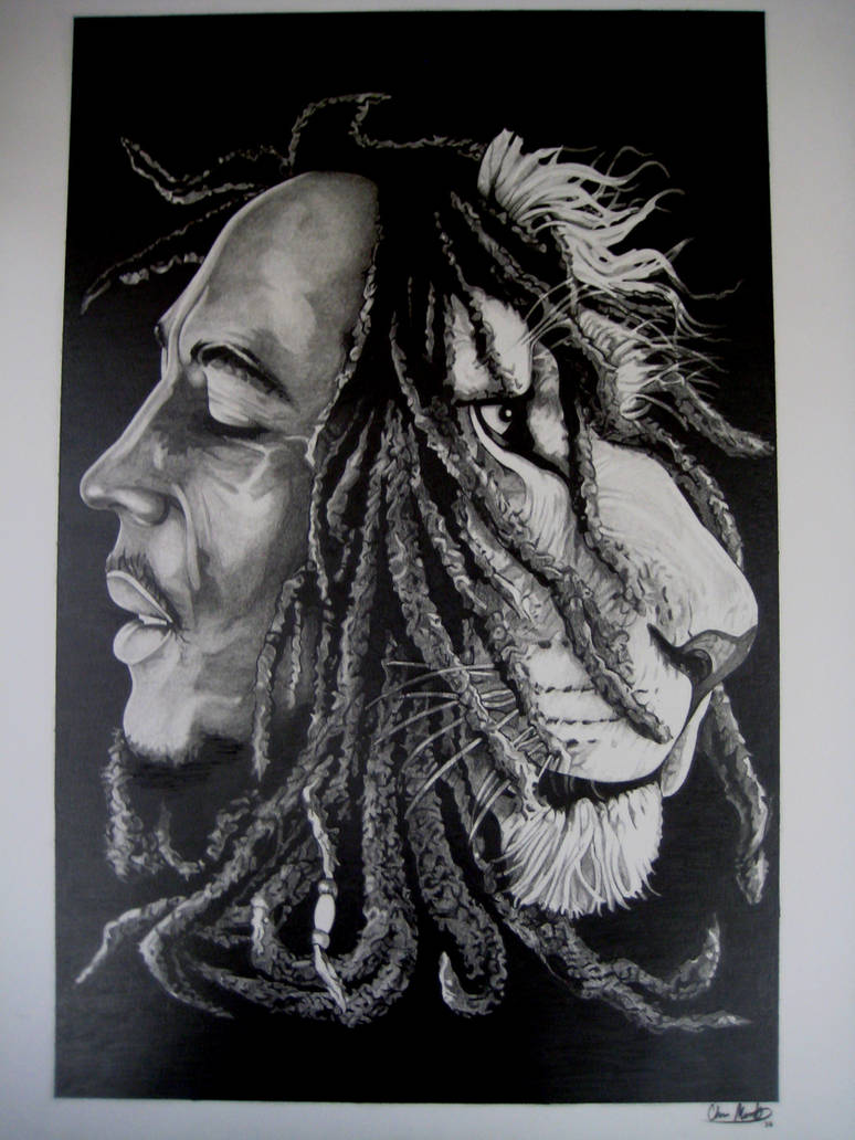 Bob Marley And Lion By Sketchesbychris On Deviantart