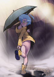 Sarah in the rain. by The-Pink-Pirate
