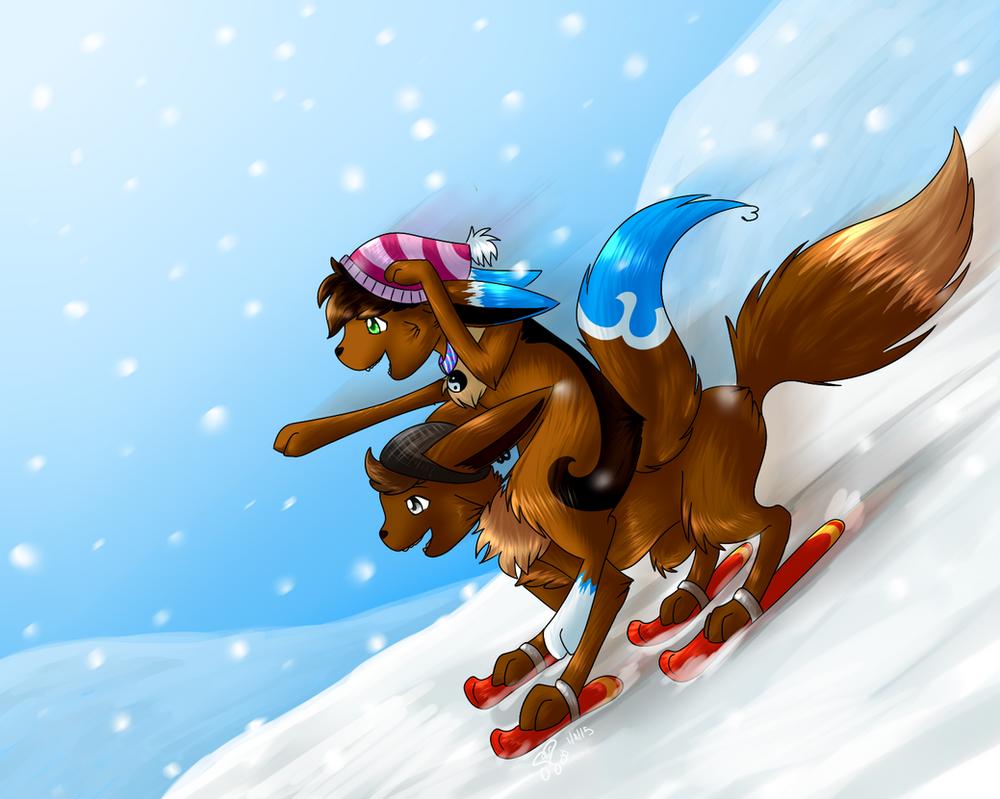 Skiing fun + Speed Paint by eevee4everX3