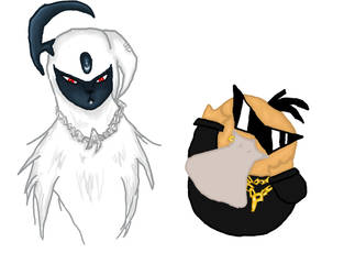 Absol and Psyduck represent by GrimReeku