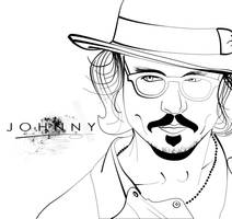 Johnny Depp Lineart by kathryn-r-h