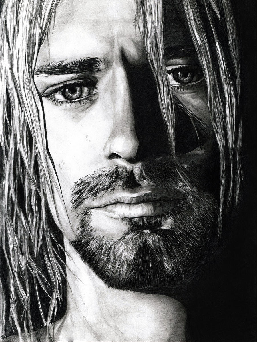 This is a graphic of Trust Drawing Of Kurt Cobain