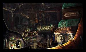 Steampunk town by Jamienobes