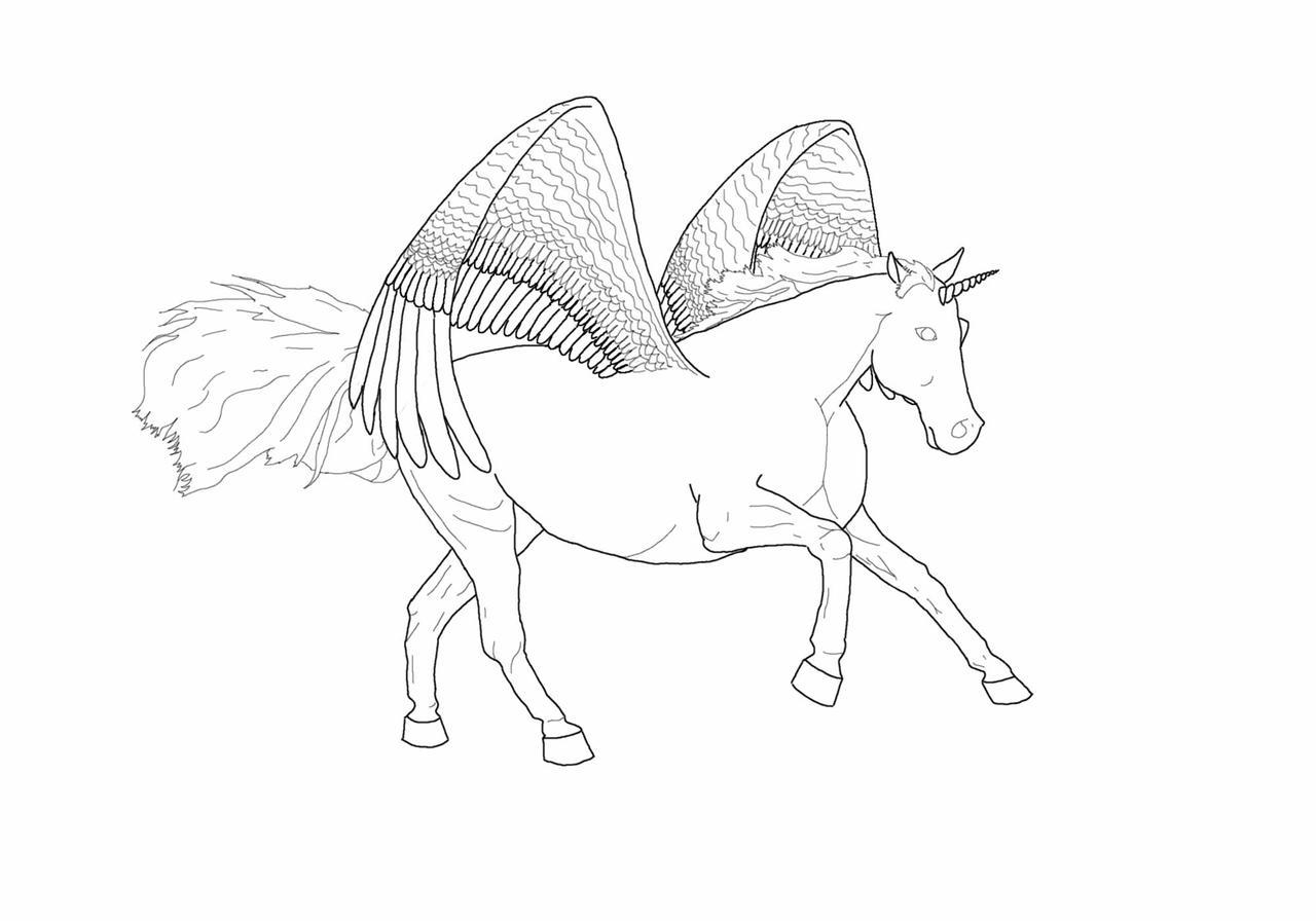Stock: Pegasus Unicorn Outline